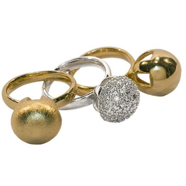 Kit trio de anéis semijoia bola, rose, dourado e ródio cravejado.