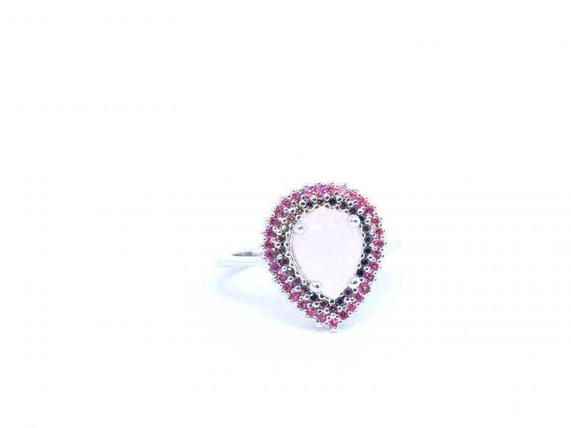 Anel gota prata com quartzo rosa e zircônia rubi e preta