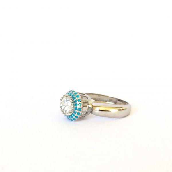 Anel solitário prata com zirconia e nano turquesa Tiffany