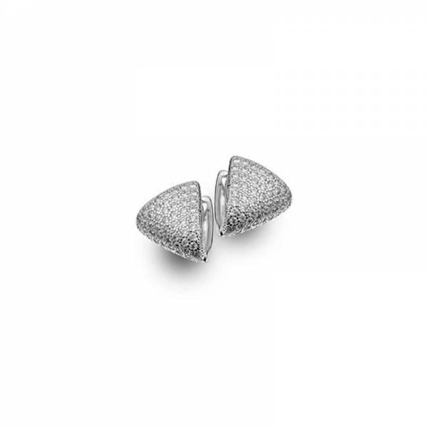Brinco argola triangulo com zircônias e banho de ródio