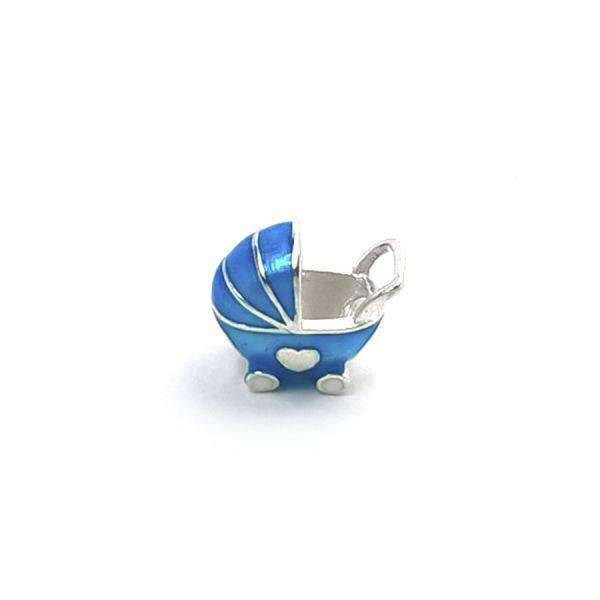 Berloque carrinho de bebê azul