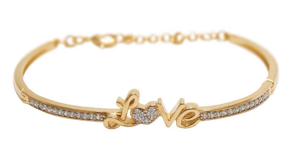 Pulseira Bracelete escrito love com zircônias