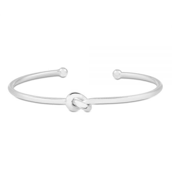 Pulseira bracelete meia lua nózinho ródio