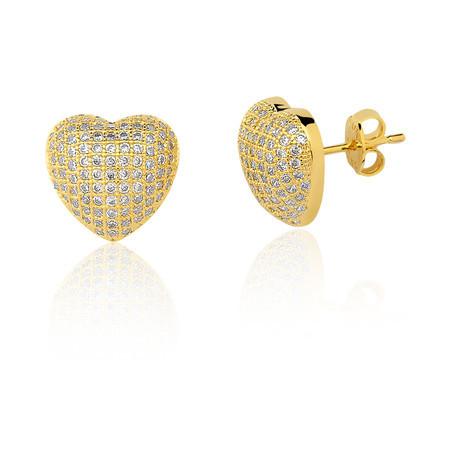 Brinco luxo semijoia coração cravejado banho de ouro 18k