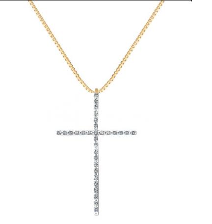 Colar com crucifixo palito cravejado com zircônia com banho de ouro