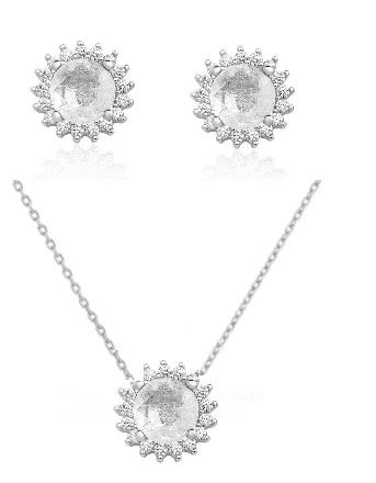 Conjunto de colar e brinco solitários Tiffany com banho de ródio