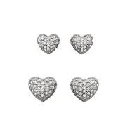 Conjunto de 2 pares brincos pequenos, coração cravejado.