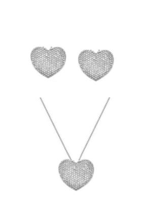 Conjunto de colar e brincos de coração cravejado ródio