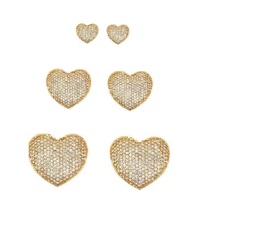 Conjunto de trio de brincos de coração cravejados para 1º,2º e 3º furos banho de ouro 18k