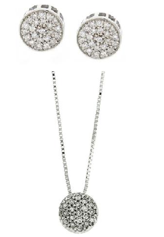 Conjunto mini chuveiro prata 925, de brinco e colar, com zircônias, pequeno.