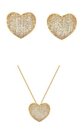 Conjunto de colar e brincos de coração cravejado com banho de ouro