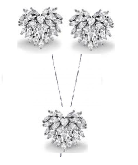 Conjunto de brinco e colar com coração de navetes cristais com ródio negro