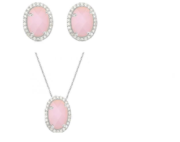 Conjunto de brincos e colar em prata de lei com quartzo rosa oval cravejado com zircônias cristais.