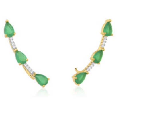 Brinco ear cuff de navetes verde esmeralda