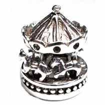 Berloque carrossel, em prata 925