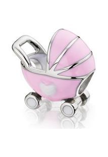 Berloque carrinho de bebê rosa.