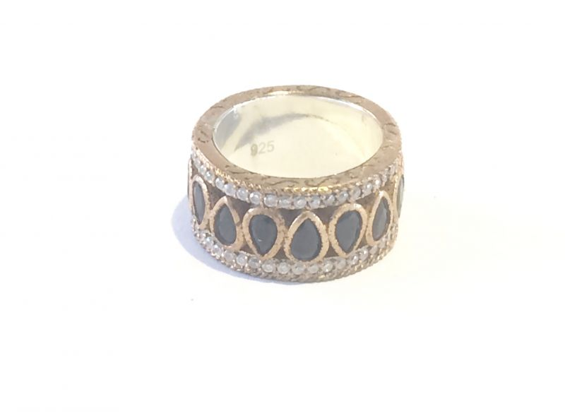Anel aliança em prata turca com bronze e zircônia onix e cristal
