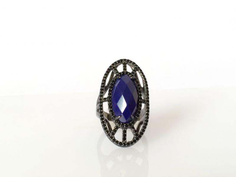 Anel oval rodio negro azul  C