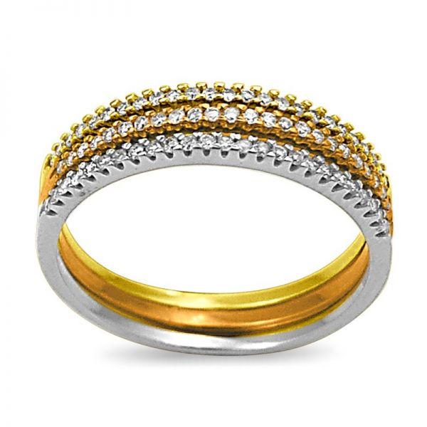 Kit trio de anéis meias alianças rosé, ouro e prata