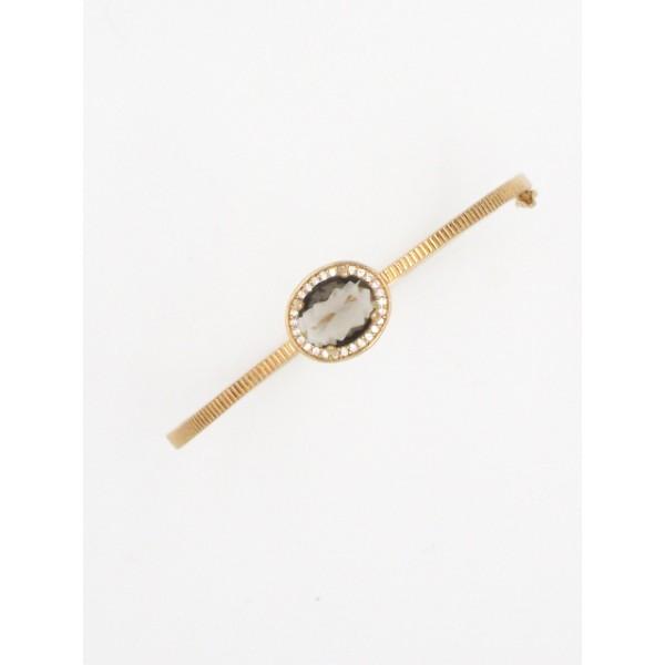 Pulseira bracelete semijoia com pedra fumê