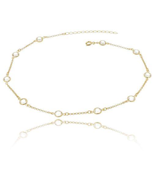 Pulseira semijoia com banho de ouro 18k e pontos de luz de zircônia, inspiração Tiffany