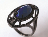 anel azul mont blanc rodio negro