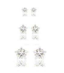 Kit trio de brincos pequenos estrelas de zircônias, 1º 2º e 3º furos